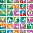 Summer Sports Symbols - Colorful - Stok Vektör