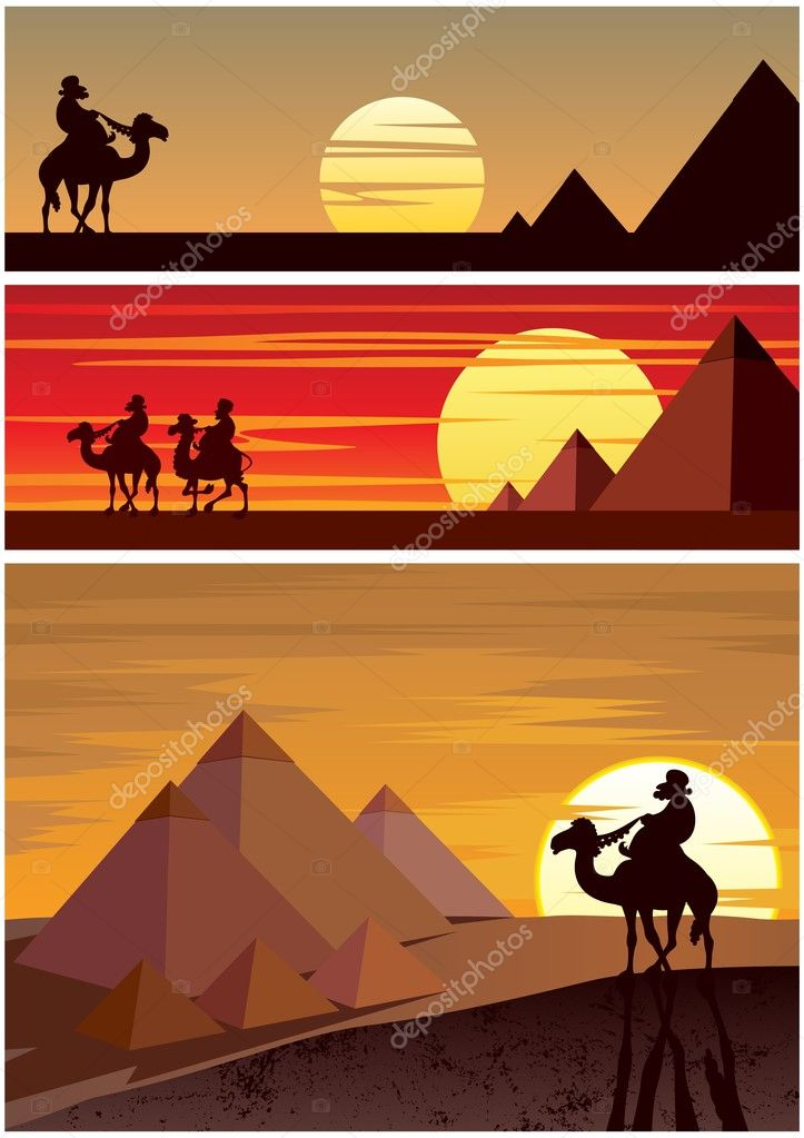 Set of 3 cartoon landscapes with the Egyptian Pyramids.No transparency used. Basic (linear) gradients.  Stock Vector #10541073