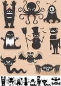 Silhouette Monsters — Stok Vektör