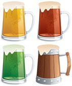 Jarras de cerveza — Vector de stock