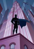 Superhéroe en la ciudad — Vector de stock