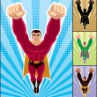 Superhero Flying - Imagens vectoriais em stock