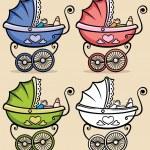 赤ちゃんベビーカー — ストックベクタ