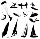 Silhouettes of water sports — Stock Photo