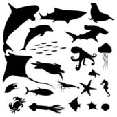 Aquatic life silhouettes pack — Stock Vector