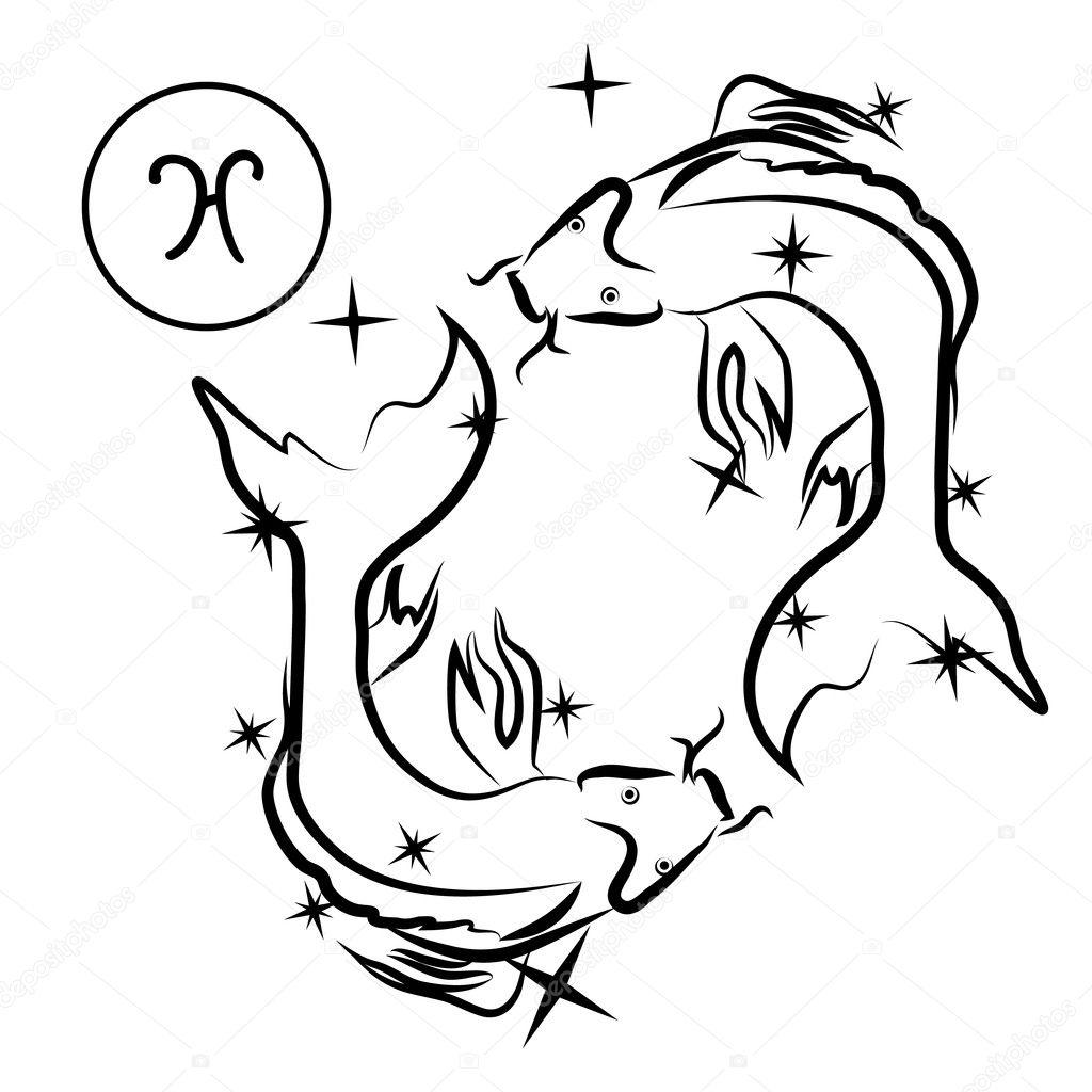 Znak Zodiaku Ryby Znak Zodiaku Piękny Sylwetka