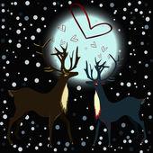 две милые оленей, с сердцами, плавая над их головы. / олени в любви. — Cтоковый вектор
