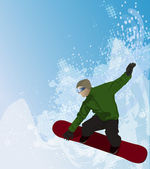Snowboarder in the air on abstract background — Stock Photo
