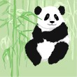 Panda sitting,with bamboo forest as background. — Stock Vector