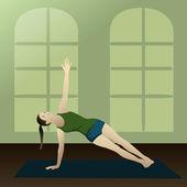 Junge Frau praktizieren Yoga Seite plank — Stockvektor