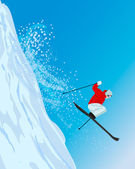 Skier jumping down — Stock Vector