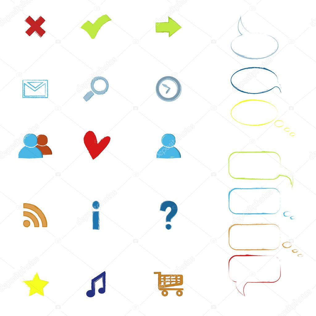 Colorful sketchy web icons   Stock Vector #9475946