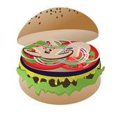 素食汉堡 — 图库矢量图片