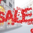 Retail street with Sale word consist of bubbles. — Stock Photo