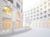 Atmospheric empty street of retail stores. — Stock Photo