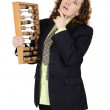 The woman with calculation device in hands — Stock Photo