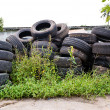 Old road tires stacked on grass land — Stock Photo