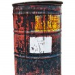 Old rusty oil drum in isolated white background — Stock Photo