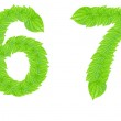Number sign made from green leafs — Stock Photo