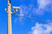 White CCTV on the concrete pole — Stock Photo