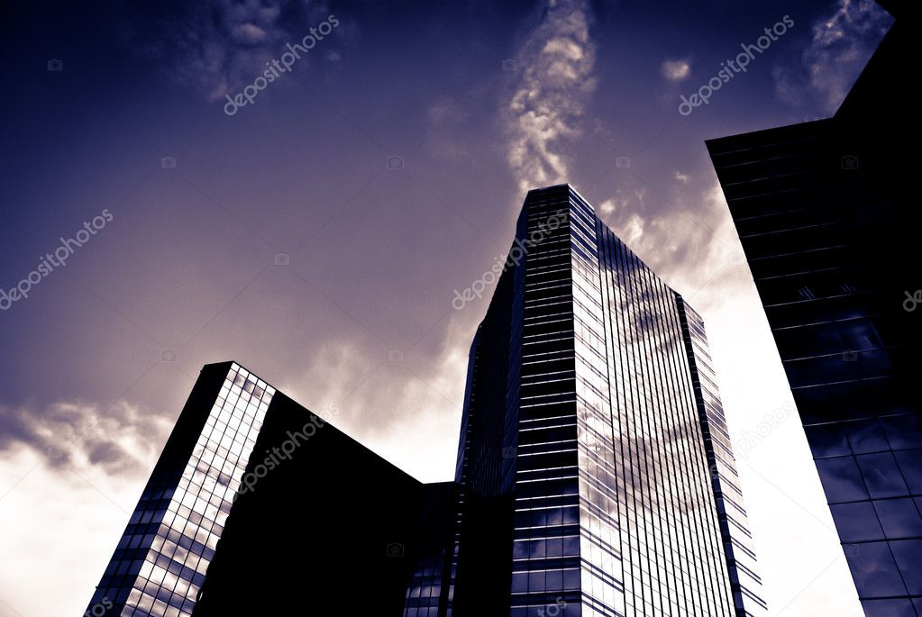 Large commercial building with with silhouette taken on a sunny day — Stok fotoğraf #8200175