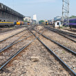 Railway for local trains taken from front view — Stockfoto