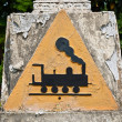 Concrete triangular train symbol - Stock Photo
