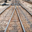Railway for local trains taken from front view - Stock Photo