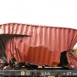 A wrackage of steel container taken from train yard - Stock Photo