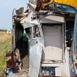 A wreckage of crashed or damaged train taken from train yard — Stock Photo