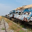 Wreckage of crashed or damaged train taken from train yard — Stock Photo #8273469