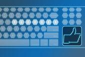 Virtual futuristic keyboard with LIKE button — Stock Photo