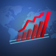 Stock Photo: Global economy business concept with 3D growth chart