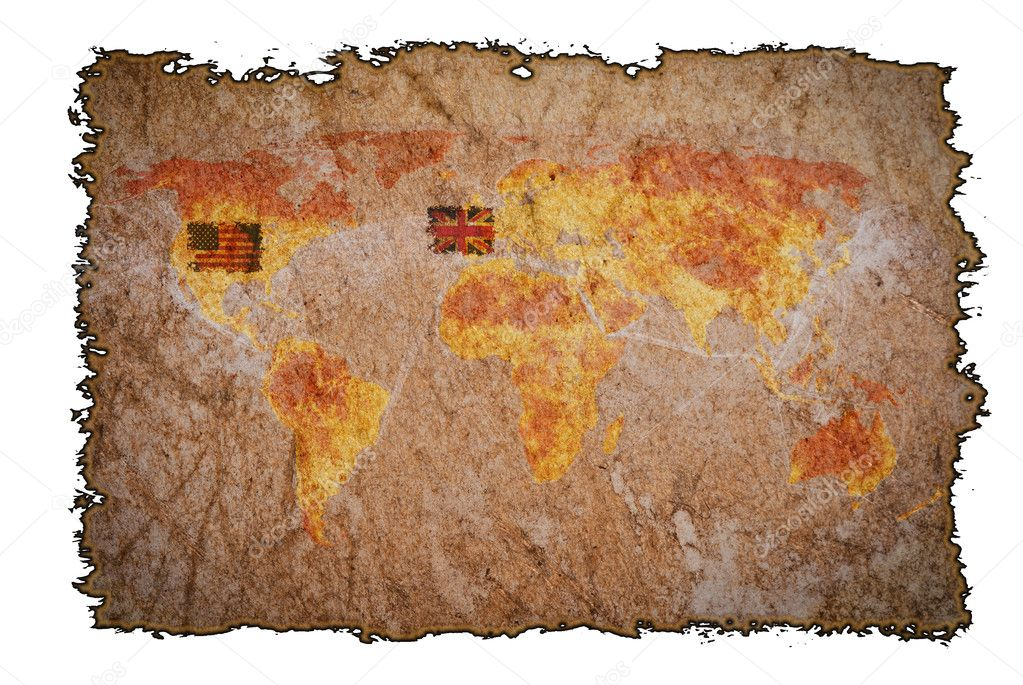 Old vintage map on burned paper background, can be use for various vintage concepts and world business concepts. — Stock Photo #8969959
