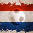 netherland rip flag with football background — Stock Photo