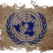 Stock Photo: United Nation or UN flag on old vintage paper in isolated white