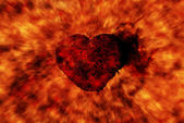 Burning heart with flame effect — Stock Photo