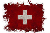 Switzerland flag on old vintage paper in isolated white backgrou — Stock Photo