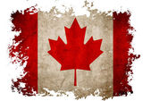 Canada flag on old vintage paper in isolated white background — Stock Photo