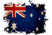 Australia flag on old vintage paper in isolated white background — Stock Photo