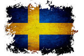 Sweden flag on old vintage paper in isolated white background — Stockfoto