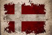 Denmark flag on old vintage paper background concept — Stock Photo