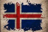Iceland flag on old vintage paper background concept — Stock Photo