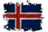 Iceland flag on old vintage paper in isolated white background — Stock Photo