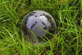 Crystal-clear globe in the green grass — Stock Photo