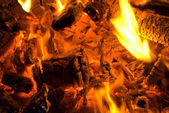 Fire on pieces of wood — Stock Photo