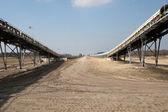 Conveyor belst in coal mining — Stock Photo