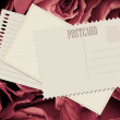 Red rose and old card — Stockfoto