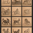 Vintage paper of 12 Chinese zodiac signs — Photo