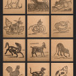 Stock Photo: Vintage paper of 12 Chinese zodiac signs